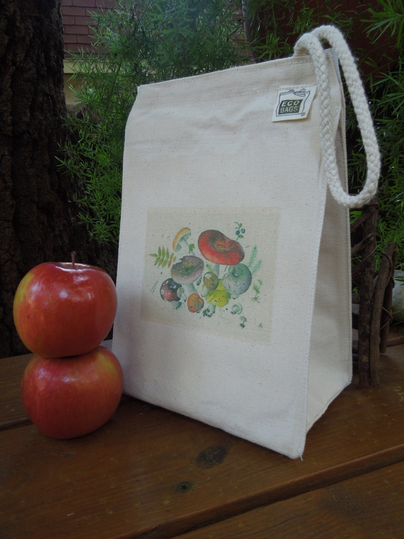 Canvas lunch bag  Recycled cotton lunch bag  Picnic lunch image 0