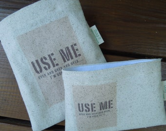 Reusable sandwich bag -  Unbleached cotton reusable sandwich bag - Reuse snack bag - Use me over and over again