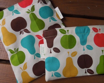 Reusable sandwich and/or snack bag - Reusable sandwich bag - Reuse snack bag - Reusable bags set -Apples and pears