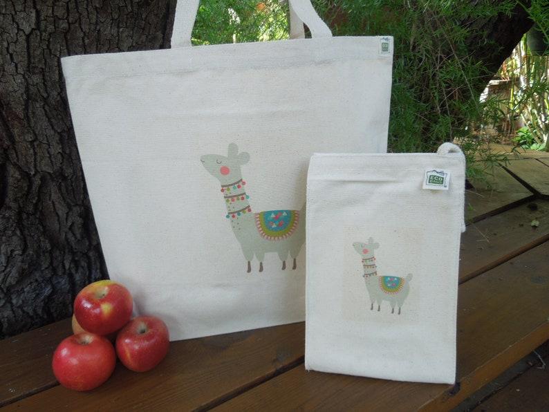 Large market tote Reusable shopping bag Natural cotton market tote Knitting project bag Canvas bag Llamas