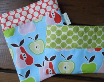 Reusable sandwich and/or snack bag - Reusable snack bag - Fabric sandwich bag - Reusable bags set - Apples and pears