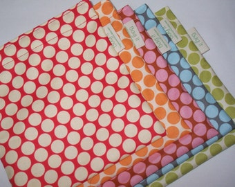 Three reusable sandwich bags - reusable sandwich bags - Zero waste lunch bags - Five colored polka dots to choose from