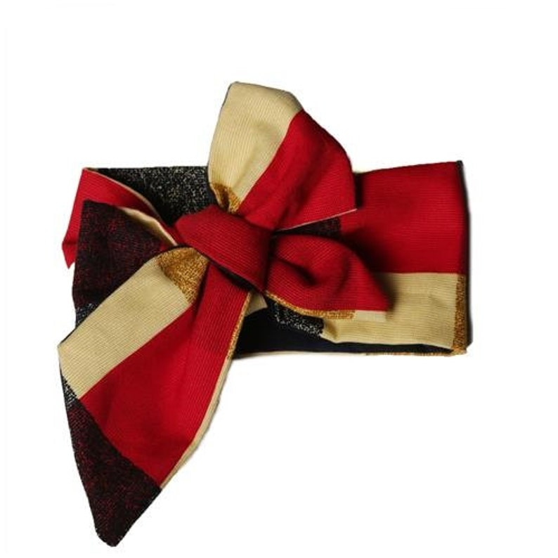 red cream & navy plaid headwrap image 0