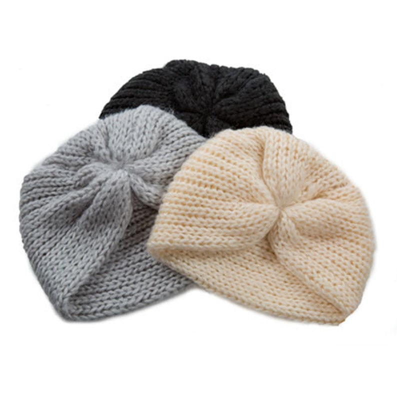 knit turban beanie made from very soft yarn image 0