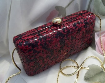 MINT Gorgeous Bob  Mackie Red & Black Woven Leather Box Evening Clutch / Chain Shoulder Bag  - Women's - Vintage