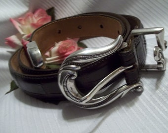 MINT Beautiful Coldwater Creek Brown Leather Croco Embossed Belt -Vintage - Accessory - Made in USA
