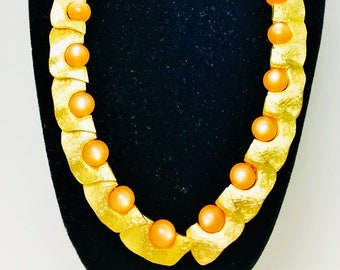 "Vintage Trifari Orange Iridescent Moonglow & Brushed Gold Choker 19"" Perfect Condition Earrings not included Runway Statement"