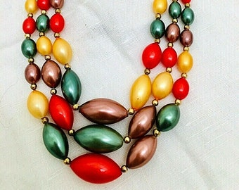 """Vintage Choker Necklace Collar Jewel Tone Tutti Frutti Stunning Teardrop Tapered Beads 15"""" Long Emerald Gold Red Brown 1950's Three Strands"""