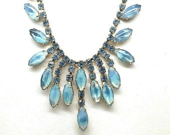Vintage D   E Juliana Shades of Blue GIVRE Marquises & Rhinestones Bib Necklace Choker Gold Tone Delizza and Elster Rhinestone and Art Glass