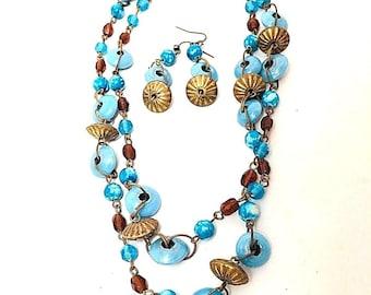Vintage Ceramic Robin Egg Blue Saucer Beads Linked Brass Chain Double Strands Choker Dangle Earrings Necklace Collar