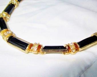 "Vintage Gold Black Rhinestone Art Deco Choker Necklace Collar 19"" Long Modern Mid Century Evening Party Christmas High End Fashion Statement"