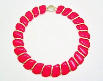 "Vintage True Red & Gold Necklace Choker Collar Bib Choker Collar Paneled High End Gift 17"" Art Deco Retro  Runway Statement"