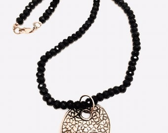 """Vintage 925 Sterling  Alle Megiddo Signed Pendant Black Quartz Sparkling Faceted Beads 17.5"""" long sterling lobster clasp High End Statement"""