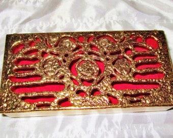 Vintage Brass Jewelry Trinket Vanity Boudoir Box Ornate Gold Art Nouveau Textured  Red Velour Lining
