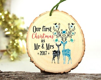 Mr and Mrs Ornament Our First Christmas as Mr and Mrs - Gifts for Newlyweds - Wedding Gift - Customized Christmas Ornament - 2017