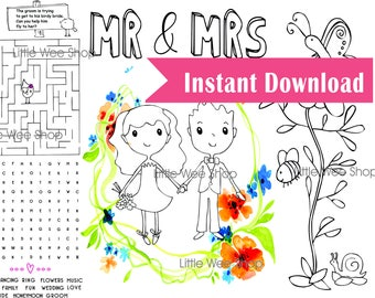 Instant download Coloring Page - Digital File - Kids Coloring Page - Kids Activity Page PDF - Printable Wedding Coloring Page Party Favors