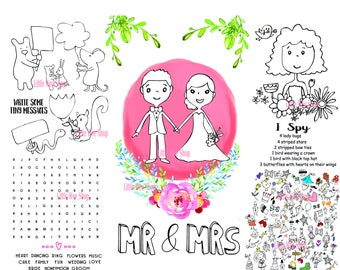Wedding Coloring Pages for Kids - Instant Download - Kids Coloring Page - Kids Activity Page PDF - Wedding Coloring Page - Wedding placemat