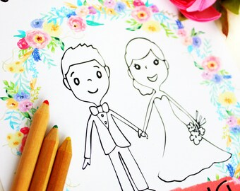 Wedding coloring book Wedding coloring pages Wedding activity | Etsy