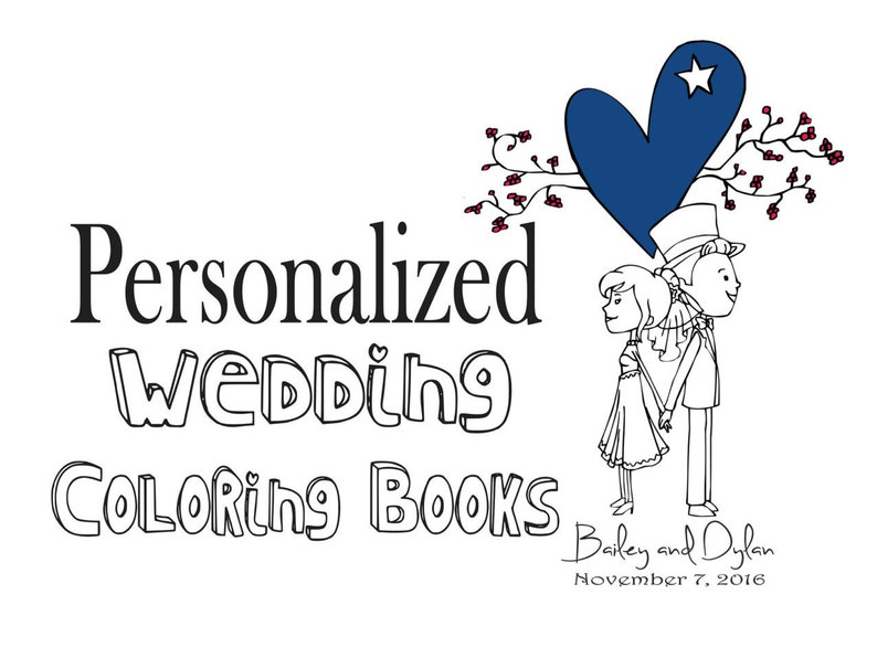 Wedding Coloring book Personalized wedding coloring book Kids | Etsy