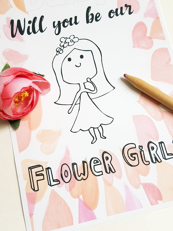 Will You be our Flower Girl Flower Girl Gift PDF Coloring | Etsy