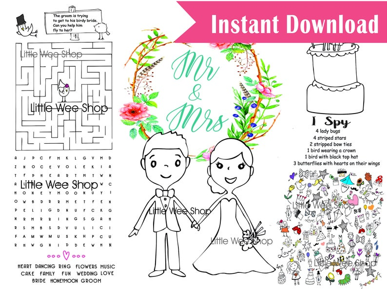 Wedding Coloring Pages Childrens Wedding Favor Printable Pdf Etsy