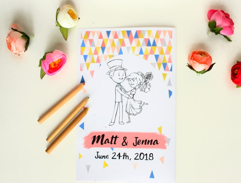 Wedding Activity Book Kids Wedding coloring pages Wedding | Etsy