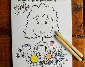 Flower Girl Gift - Coloring Book, Flower Girl Gift, 3 - 5 year olds, Kids Wedding Activity Book, Personalized, Printable Activity Book