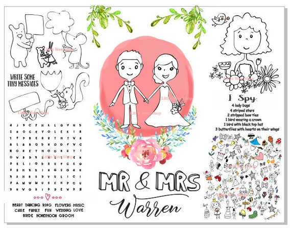 Wedding Coloring Pages for Kids - Personalized Kids Coloring Page - Kids  Activity Page PDF - Wedding Coloring Page - Wedding placemat