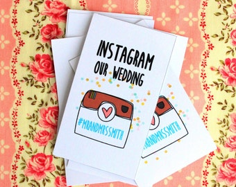 Instagram Our Wedding Sign - Mini Instagram our Wedding cards for guests - Customizable - DIY Printables