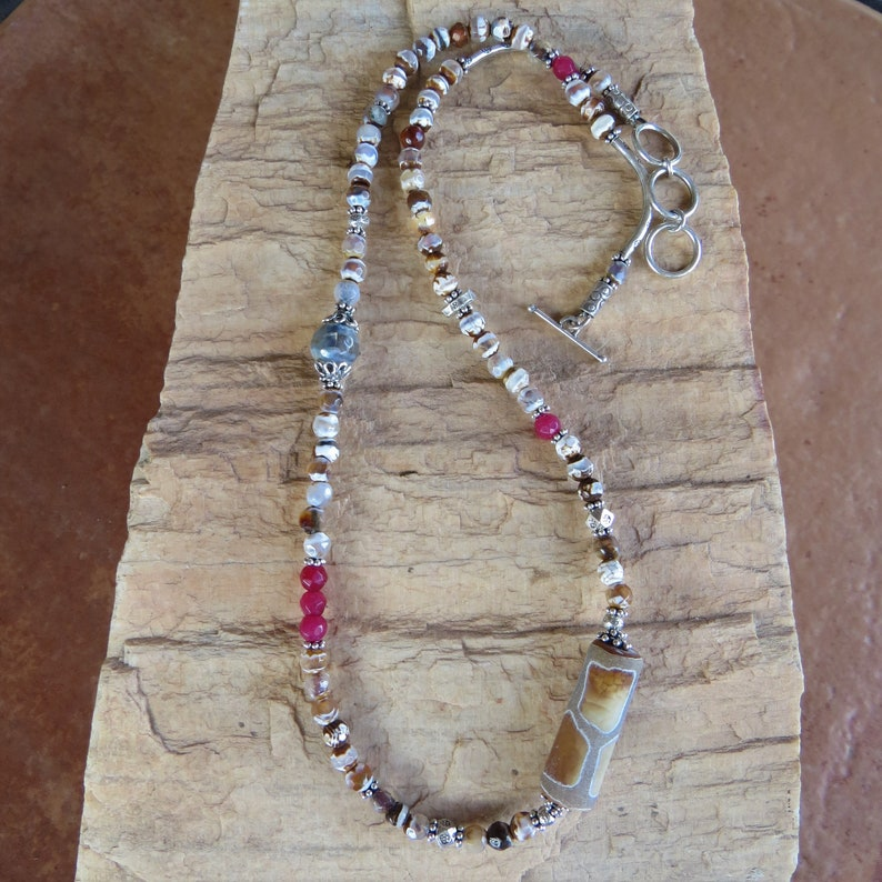Tibetan Stripped Agate and Ruby Necklace with Hill Tribe Silver