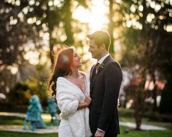Faux Fur Bridal Wrap, Bridal Stole, Wedding Cover Up, Bridal Shawl, Winter Wedding, Bridal Cape, Cuddle Wrap