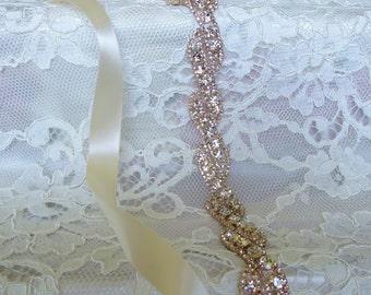 Rose Gold Crystal Rhinestone Bridal Sash,Wedding sash,Bridal Accessories,Bridal Belt,Ribbon Sash,Style # 15
