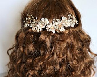 Gold freshwater pearl Crystal Floral Leaf Hair Vine, Bridal Accessories,Boho Wedding Accessories,Gold headpiece,Bridal Headpiece