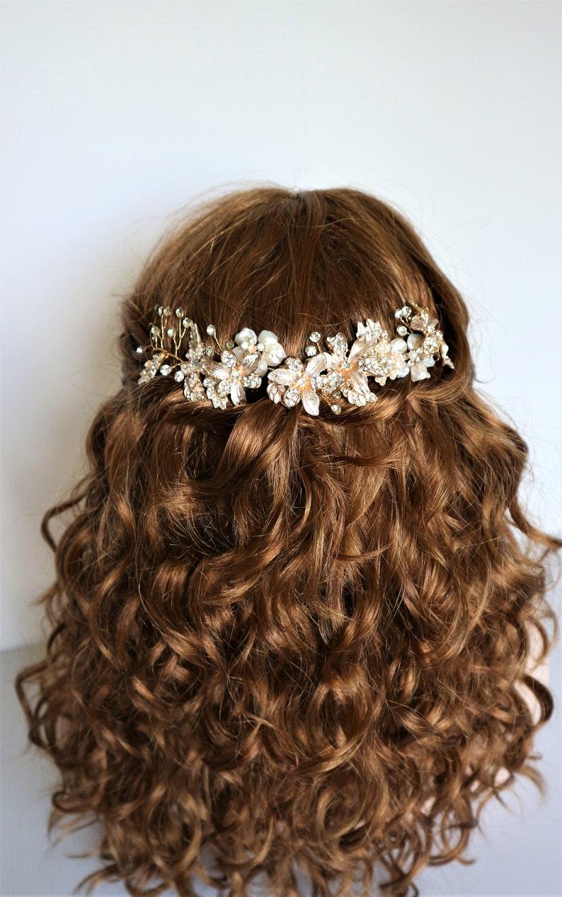 Gold freshwater pearl Crystal Floral Leaf Hair Vine Bridal image 0