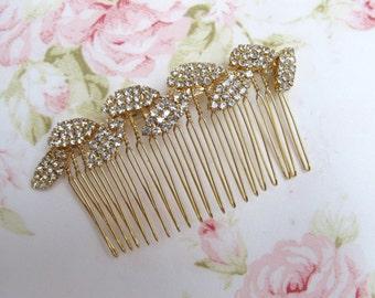 Gold Leaf Bridal Hair Comb,Rhinestone Wedding Hair Comb,Bridal Hair Accessories,Wedding Accessories,Decorative Hair Comb,#C45