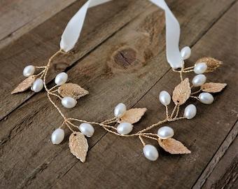 Gold Leaf Pearl Bridal bracelet vine,Bridal Accessories,Wedding Accessories,Bridal jewelry,Wedding cuff,#B121
