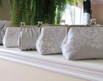 SALE 20% OFF Mis Matched Bridesmaid Clutches Set of 5,Bridal Accessories,Wedding Clutch,Lace Clutch,Bridesmaid Clutch