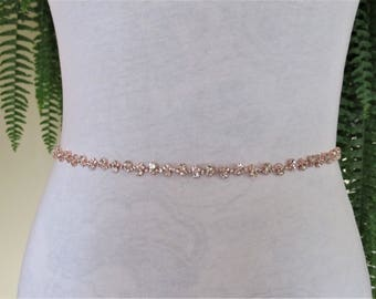 Thin Wedding Belt,Delicate Rose Gold Crystal Rhinestone Bridal Sash, Wedding sash,Bridal Accessories,Bridal Belt,Style #48