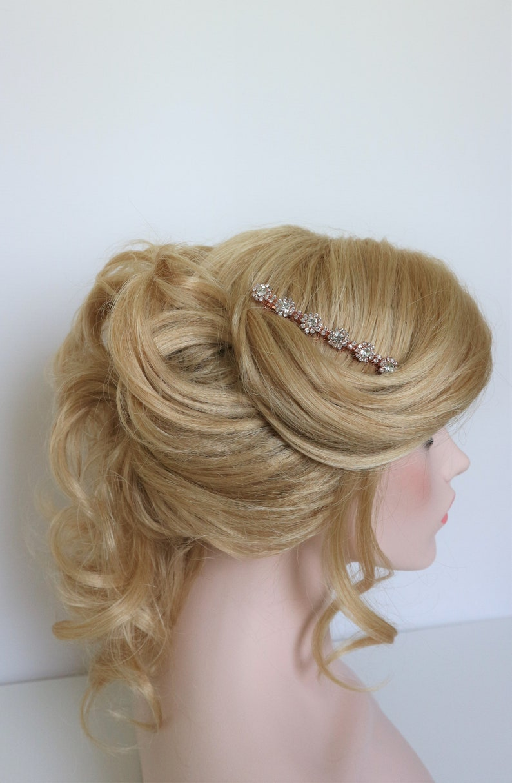 Rose Gold Bridal Hair Comb,Rhinestone Wedding Hair Comb,Bridal Hair Accessories,Wedding Accessories,Decorative Hair Comb,#C30