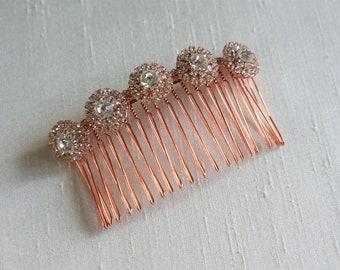 Rose Gold Bridal Hair Comb,Rhinestone Wedding Hair Comb,Bridal Hair Accessories,Wedding Accessories,Decorative Hair Comb,#C23