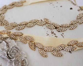 Gold Crystal Leaf Bridal Garter Set,Wedding Garter,Bridal Accessories,Boho Garter Set,Style #G45