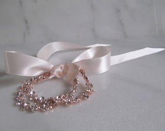 Rose Gold Double Rhinestone Bridal Cuff,Wedding Accessories, Bracelet,Crystal Bridal Bracelet,#DB48