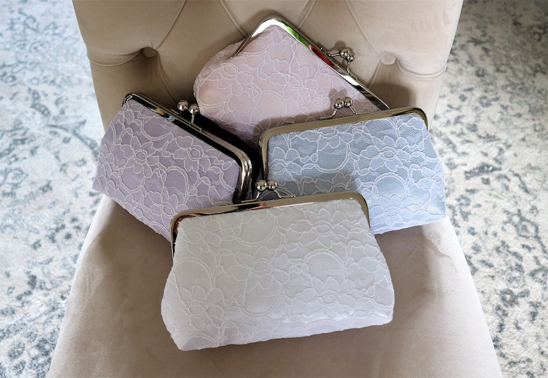 SALE 15% Off Mix And Match Bridal Silk And Lace Clutch Set Of image 0