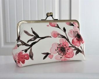 Cherry Blossom Clutch, Bridal Accessories, Bridal Clutch, Bridesmaid Clutch, Floral Clutch, Wedding Clutch