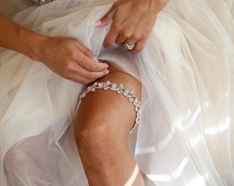 Rose Gold Crystal Rhinestone Bridal Garter,Wedding Garter,Bridal Accessories,Style #G29