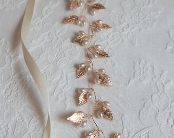 Gold Leaf And Pearl Bridal Sash,Bridal Accessories,Wedding Accessories,Boho bridal sash,Wedding belt#121