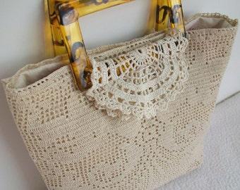 Ecru lace purse   Vintage lace remake   Tortoise shell handles   Reused doilies  Mothers Day   Summer handbag
