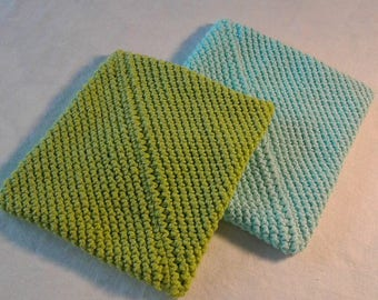 Pair of potholders   Crocheted hot pads   Table mats   Aqua and green  Kitchenware   Housewarming gift   Hostess gift