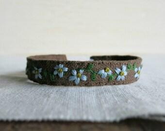 Floral Cuff Bracelet - Blue Flowers on Brown Linen Hand Embroidered Cuff Bracelet - Gift Under 50