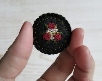 Red Rose Brooch, Floral Embroidered Brooch, Gift For Her, Gift For Mom, Textile Art Brooch, Gift Under 40, Red Black Brooch